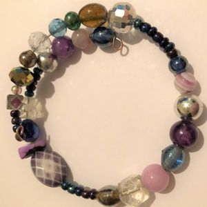Glass beads, and stones Bracelet on Memory Wire